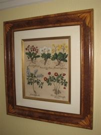 Floral framed with inlaid wood frame - pair