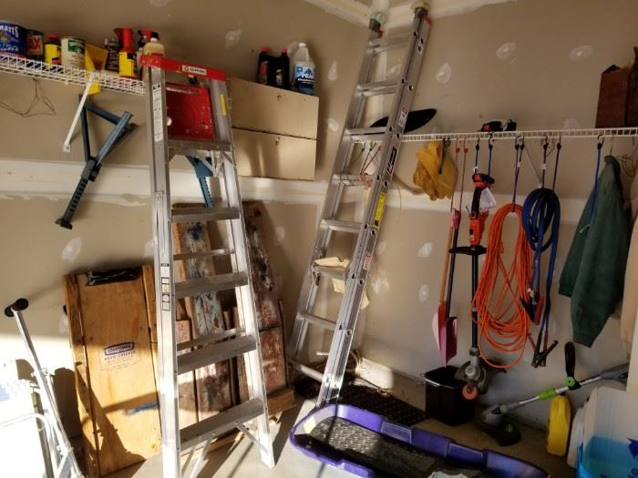 6' step ladder and 16' extension ladder