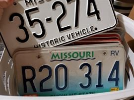 Box of license plate pairs. Both Missouri & Illinois.