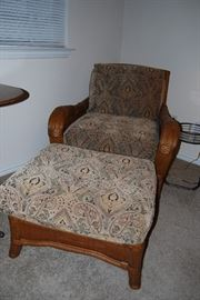 Wooden Chair and Ottoman