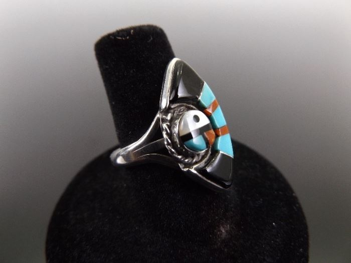 .925 Sterling Silver Navajo Turquoise, Red Coral, and MOP Ring Size 7