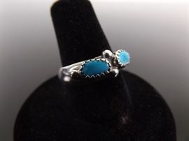 .925 Sterling Silver DoubleTurquoise CabochonRing Size 7.25