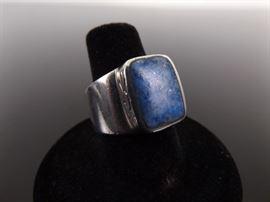.925 Sterling Silver Inlayed Lapis Lazuli Sunburst Ring Size 7