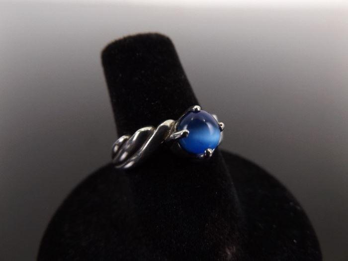 .925 Sterling Silver Blue Chrysoberyl Cats Eye Ring Size 6