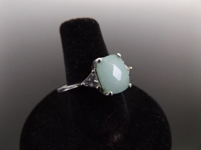 .925 Sterling Silver Faceted Prehnite Crystal Accented Ring Size 11