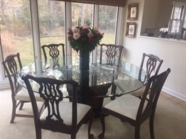 6 ft beveled glass top table w/2 sets of 6 chairs