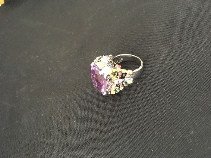 18 K Amethyst Ring w/Diamonds and Sapphires in a Butterfly design