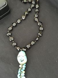Turquoise and Smokey Topaz Faux Necklace