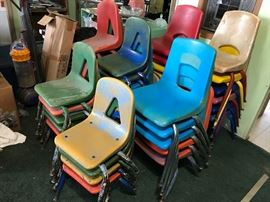 About 35 small chairs for kids. Let's call them.. 'vintage'!