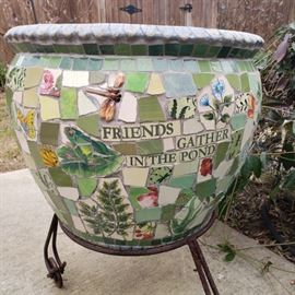 Large mosaic flower pot