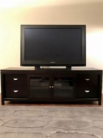Panasonic 50-inch Plasma-screen TV and wooden media console
