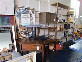 Art, decor, side tables, corner desk, barware, china, white wrought iron shelving units (built-in shelving units not available)