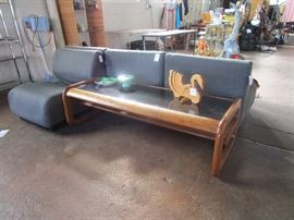 Herman Miller modular chairs (5 available), bentwood coffee table