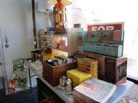 Toys, kitsch, cookbooks, ceramic planters, lighting