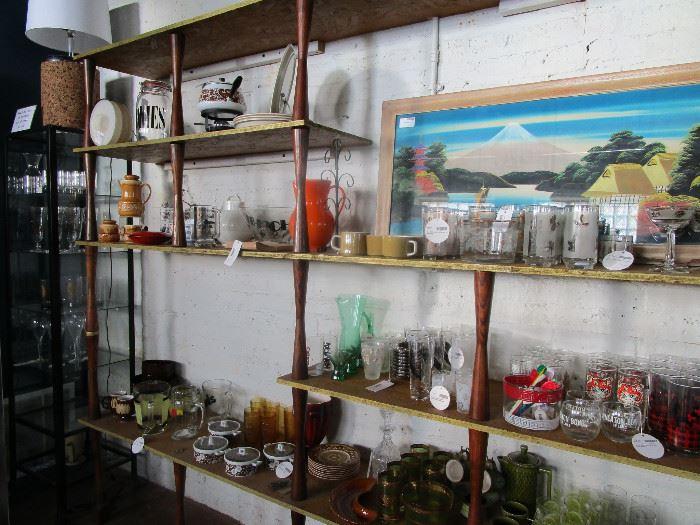 Barware barware barware!! Tea sets, ceramics, art, fondue set, china... ( built-in shelving unit not available)