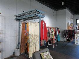 Industrial coat rack, curtains, bedding