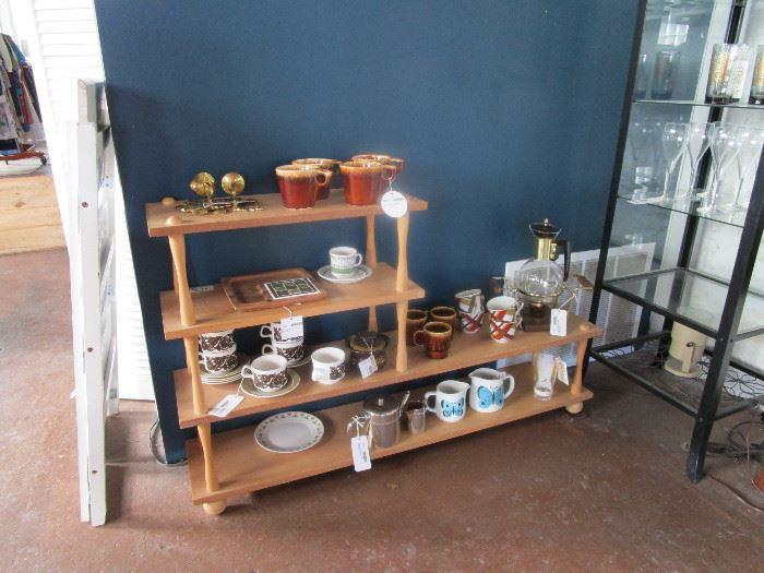 Mugs, china, coffee pots and warmers, small  wood display/bookshelf