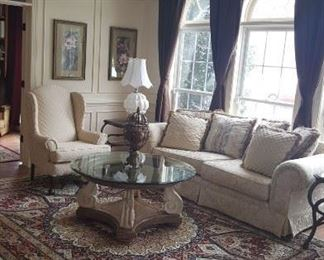 Mint Condition Sofa, Love Seat, Chippendale Chair and Glass Coffee Table