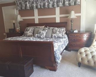 Sleigh Bed, Chaise Lounge, Trunk, End Tables, Lamps and Bed Linens
