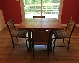 Vintage Trestle Table and Set of 4 Danish Modern Chairs with Jute seats