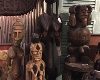 African wooden sculptures, masks and bowls