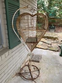Heart Shape Birdcage on Stand
