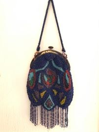Fabulous glass beaded antique purse with brilliant colors