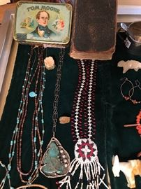 Souvineer beaded pendant and more... along with an antique Bible to swear on.