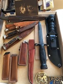 A few hunting knives, and a bayonet to boot.
