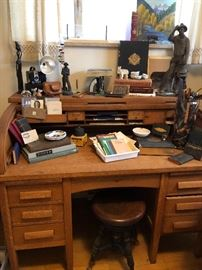 If you have ever considered a roll top desk... this oak one is a beauty