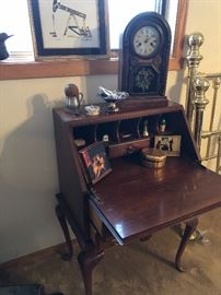 Drop down desk and lovely mantle clock