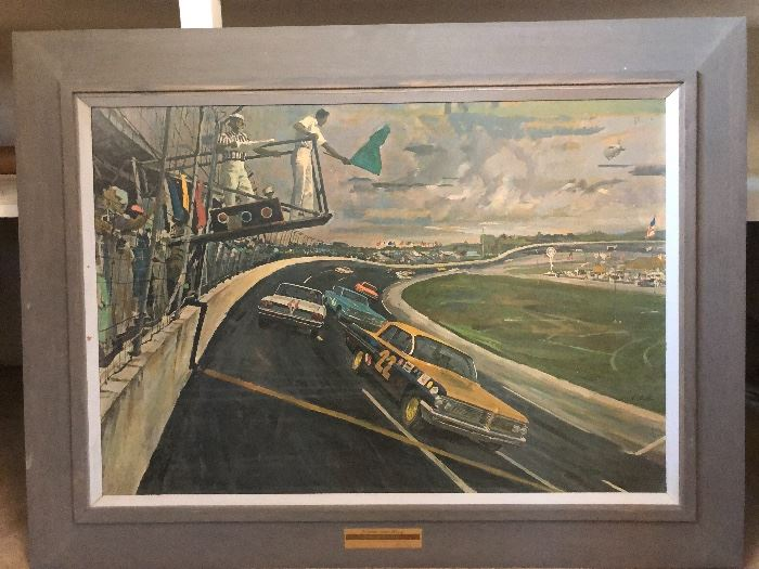 Crazy fun print that was given to Pontiac car dealers in 1962 of the Daytona 500.  This one is in quite lovely condition and would make a super fun conversation piece for home or office
