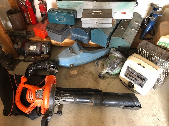 Practically new leaf blower and all sorts of tool boxes