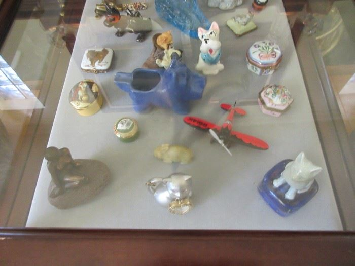 Collections of enamel boxes, scotties and more