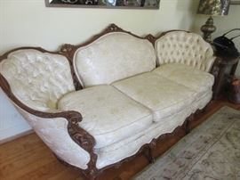 Ornate carved sofa from Marshall Fields
