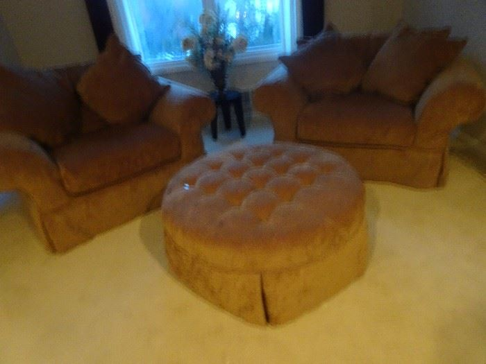Custom Over Stuffed Chairs with Ottoman