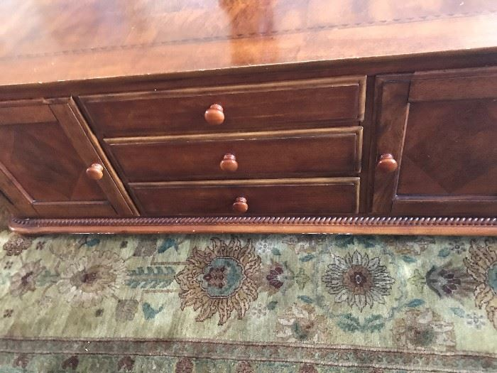 "Inlaid Coffee Table with Drawers - 54 ""L X  24""W  X 20""H"