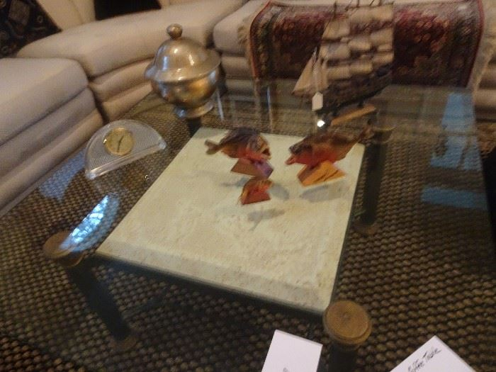 "Glass Top Coffee Table - 42"" X 18""H"