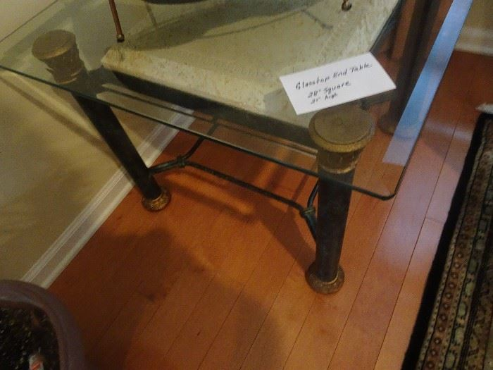 Glass Top End Table - 28 X 21H