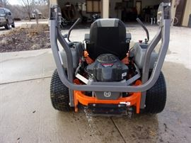 """2014 Husqvarna MZT61 Zero Turn Mower 61"""" Deck  ZT3400 Hydraulics commerical and service able  Engine Options: - 27hp Briggs & Stratton - 23hp Kawasaki 2 cylinder with electric start Fuel tank has a 5 gallon capacity Up to 10 mph forward and 5 mph reverse M-ZT61 with 61"""" Fabricated cutting deck, fully welded 1.5"""" to 4.5"""" cutting height Easy to use electric blade engagement Greaseable spindles made of cast iron Drive train and dimensions of lawn mower Back tires are 23 x 10.5-12"""" in size Front caster tires are 13 x 6.5-6"""" Overall length of zero turn is 75.5"""" With deflector down it is 76"""" wide and 62.3"""" up Unit weighs 790 lbs dry weight Includes fold able roll-bar and nicer higher back seat , lift able side discharge shoot    CHECK OUT YOUTUBE VIDEO COPY AND PASTE https://www.youtube.com/watch?v=offkdIosFGc"""