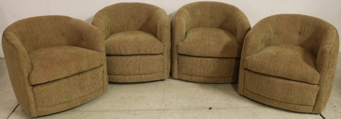 Matched set of 4 swivel club chairs