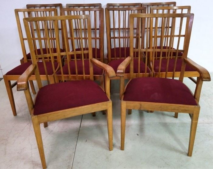 Matched set of 10 vintage chairs