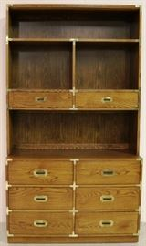 Campaign style brass adorned bookcase by Bernhardt