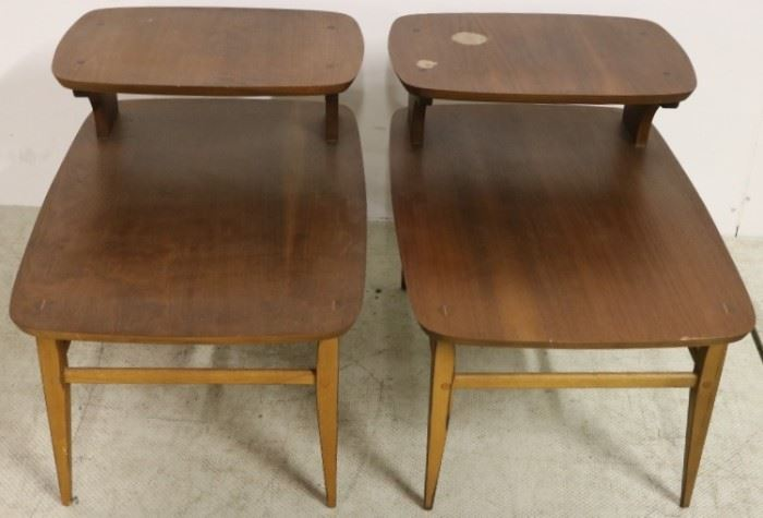 Pair step down side tables