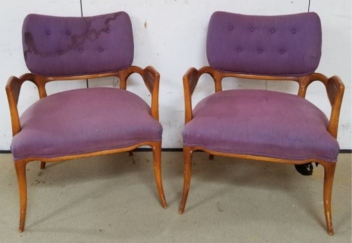 Vintage pair caned arm upholstered chairs