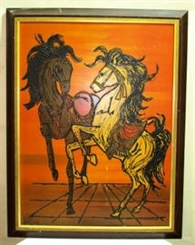 Large wall art of fighting horses