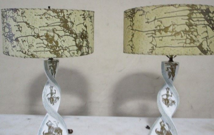 Matched pair vintage lamps signed Plasto