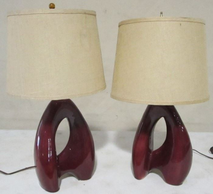 Pair freeform pottery lamps