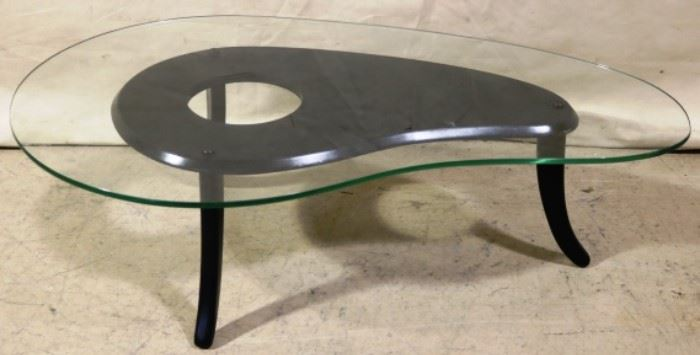 Freeform glass top cocktail table