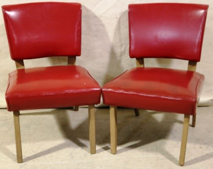Pair candy apple red side chairs